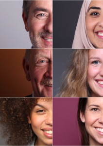 Variety of multicultural faces