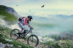 Mountain biking on mountain