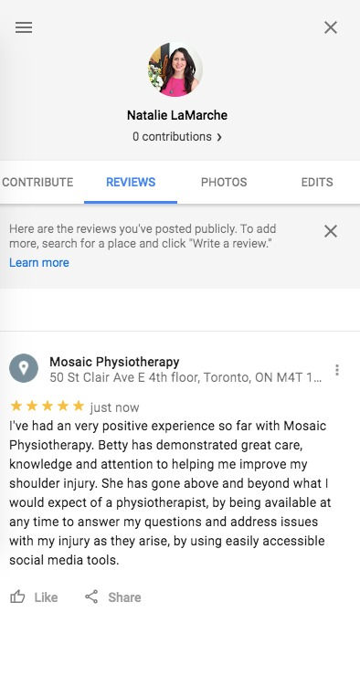 Betty demonstrated great care, knowledge, and attention, to helping me improve my shoulder injury.